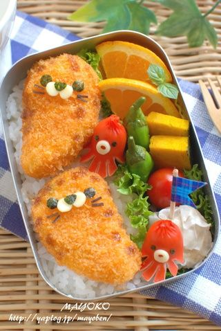 Harbor seal bento -- are these tonkatsu? the link doesn't follow through . . .