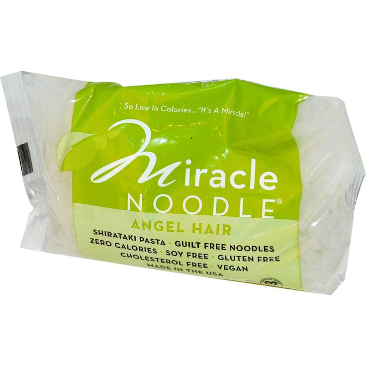"Miracle Noodle, Angel Hair, Shirataki Pasta, 7 oz (198 g) Description So low in Calories... ""Its a Miracle!"" Guilt Free Noodles Zero Calories Soy Free Gluten Free Cholesterol Free Certified Vegan Kosher Pareve BPA Free"