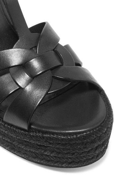 Saint Laurent - Tribute Leather Espadrille Wedge Sandals - Black - IT39.5