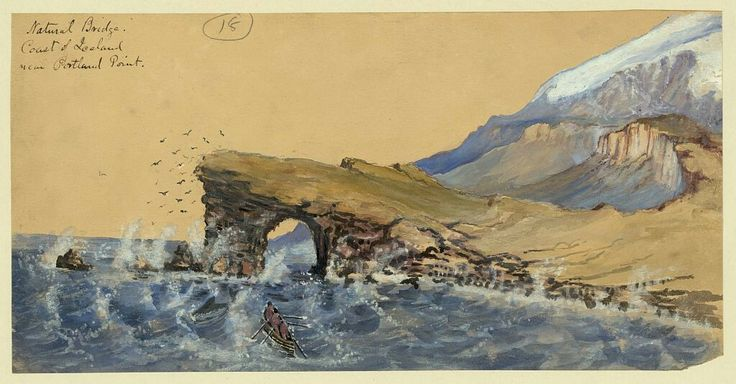 Title:Natural bridge coast of Iceland near Portland PointCreator(s):Taylor, Bayard, 1825-1878, artistDate Created/Published:[1862]Medium:1 drawing : ink brush and watercolor over graphite underdrawing.Summary:Drawing shows fishermen rowing in the choppy sea toward a natural bridge in the coastal rock near Portland Point in Iceland. There is no other sign of habitation. Taylor visited Iceland in 1862, perhaps en route to Russia.