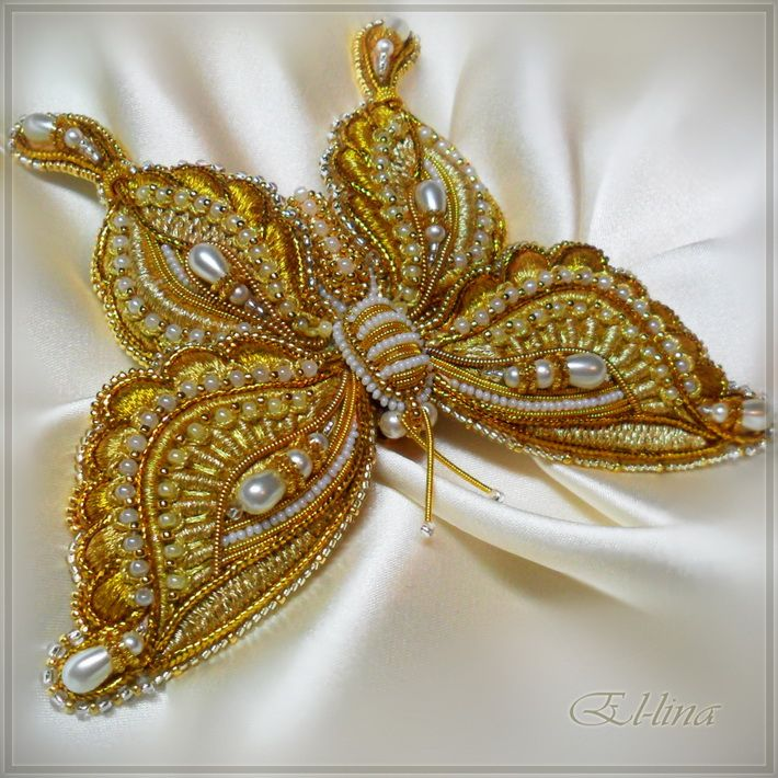 Goldwork Butterfly Brooch - Hand Embroidery by Elena Emelina