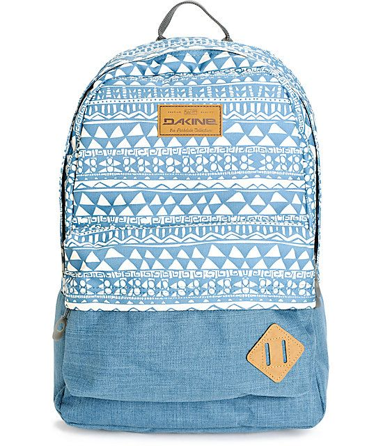 "Carry your things in style with a blue and white tribal print upper and solid blue lower with a 15"" padded laptop sleeve and padded reinforced bottom."