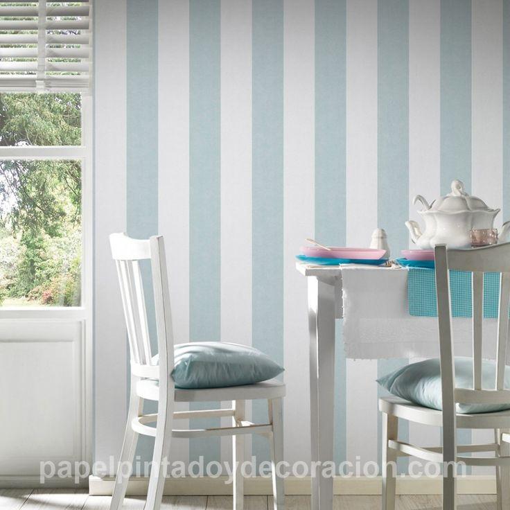 Papel pintado raya ancha 13cm con relieve blanco y azul claro textura rugosa PDA8329901