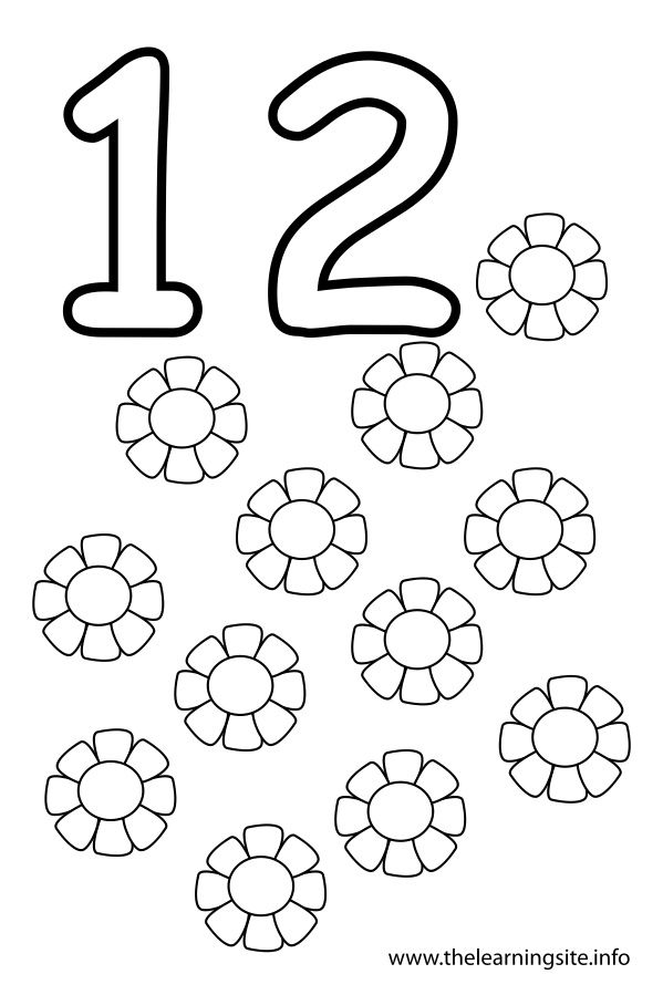 Coloring-page-outline-number-twelve-flowers