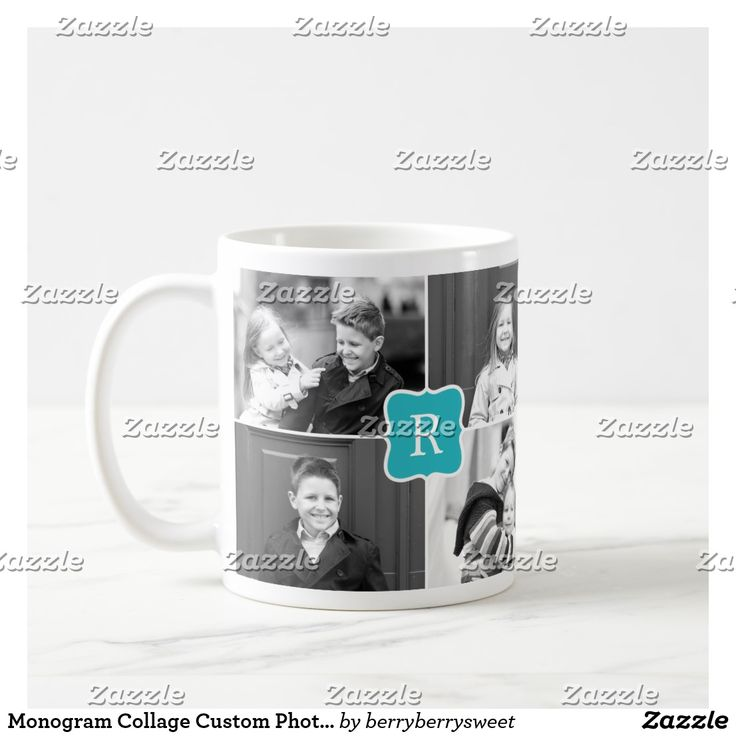 Monogram Collage Custom Photo Mug -  Turquoise