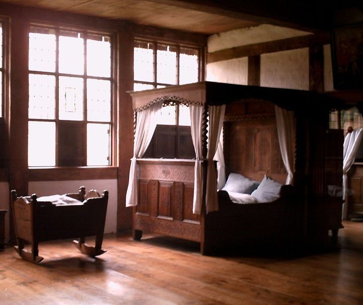 Medieval bed. Not too lavish or too simple. I love it all especially the matching wood Cradle its gorgeous..