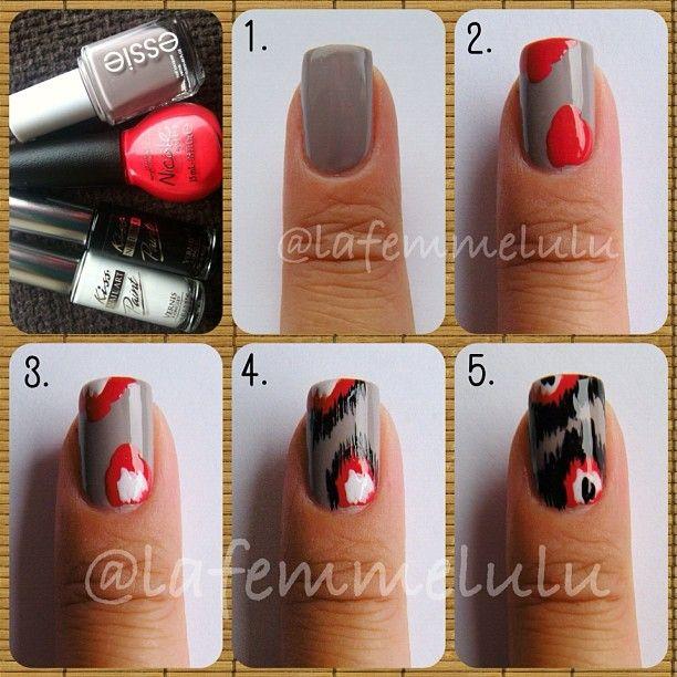 Nails Art, Ikat Nails, Nails Design, Nail Tutorials, Nails Ideas, Art Tutorials, Feathers Nails, Nail Art, Nails Tutorials