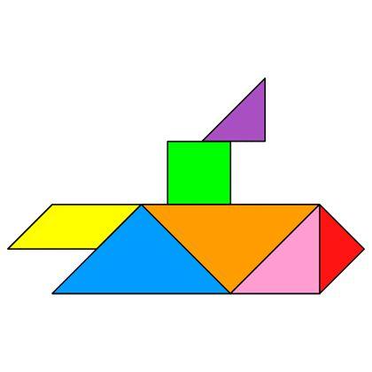 Tangram Submarine - Tangram solution #139 - Providing teachers and pupils with tangram puzzle activities