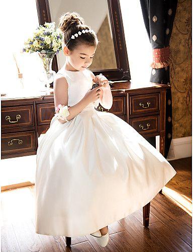 Bir satırı prenses mücevher çay boyu saten çiçek kız elbisesi  $89.99