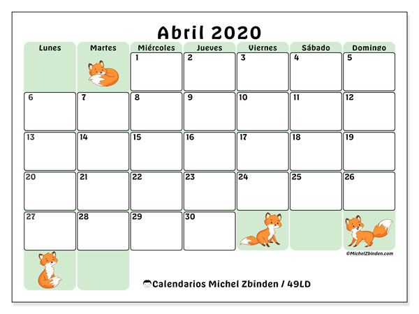 Calendario Abril 2020 49ld En 2020 Calendario Calendario Para