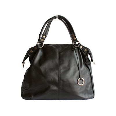Sandy Italian Black Leather Satchel Handbag - £64.99