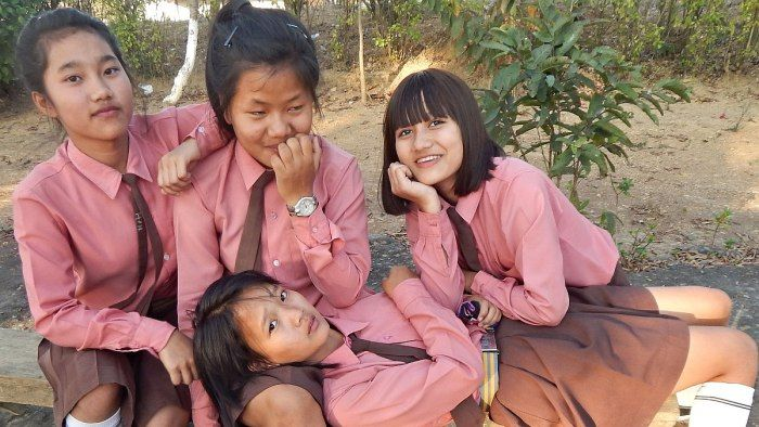 Mizo school girls of Hnahthial. Lunglei District, Mizoram, India. Mizo school zirlai naupang thlalak
