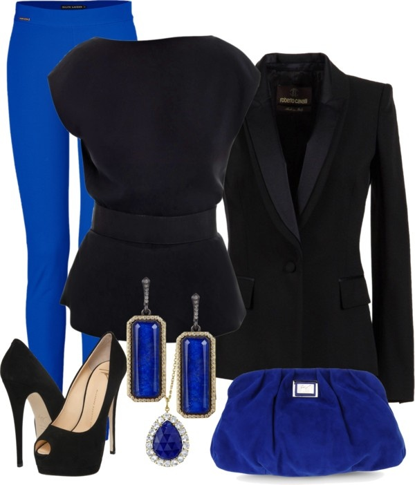 """Blue Pants Evening"" by silek ❤ liked on Polyvore"