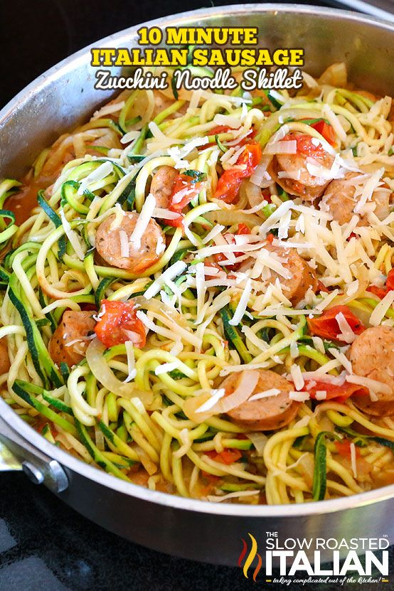 This amazingly simple Italian skillet recipe comes together in just 10 minutes with 5 real ingredients, all in one skillet. FINALLY a dinner you can feel good about feeding your family and still have enough time to enjoy your evening. Italian Sausage and Zucchini Noodle Skillet is my new favorite with oodles and oodles of zoodles (zucchini noodles)!