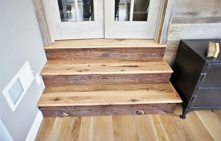 Hand Sanded Classic White Oak Flooring And Custom Stair Treads | Prefinished Wood Stair Treads | Natural Red | Hardwood Lumber | Hardwood Flooring | Stair Nosing | Hickory