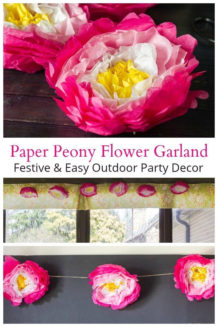 Make a fun and festive paper flower garland to use at all of your outdoor parties. Perfect for showers, grad parties or a summer garden party with friends. #partydecor #partydecor #paperflowers #papercraft #tissuepaper
