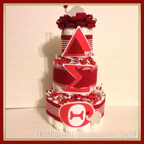 Custom 3 Tier Diaper Cakes Sorority Delta Sigma Theta