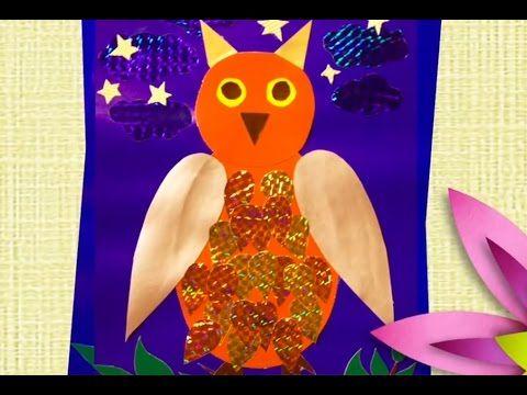 """В этом видео вы можите увидеть как сделать из цветного картона и бумаги аппликацию """"Сова"""""""