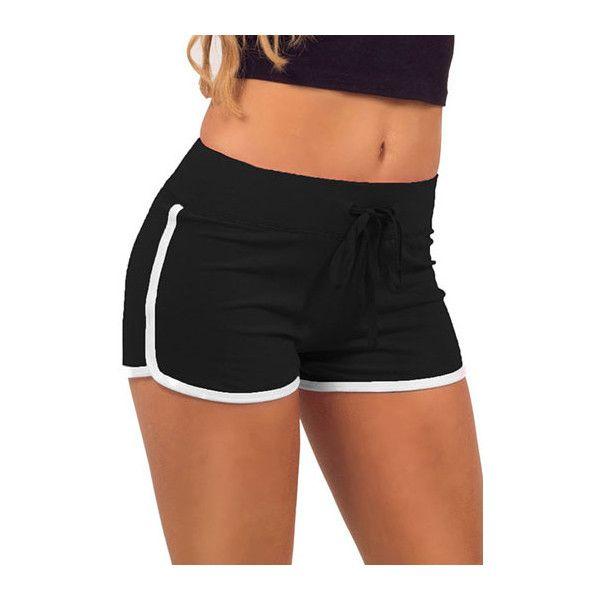 Rotita Drawstring Waist White Hem Skinny Shorts ($13) ❤ liked on Polyvore featuring shorts, bottoms, pants, black, black shorts, black drawstring shorts, print shorts, patterned shorts and drawstring shorts