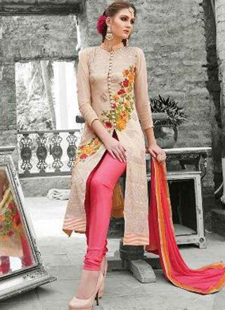 Classy Cream Pink Embroidery Work Georgette Churidar Suit  #Suits #Churidar #Salwar   http://www.angelnx.com/Salwar-Kameez