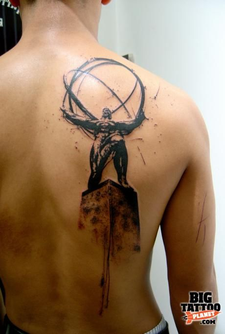 Atlas is Shrugging by French artist, Xoil. I highly debated something similar for my Ayn Rand tattoo.