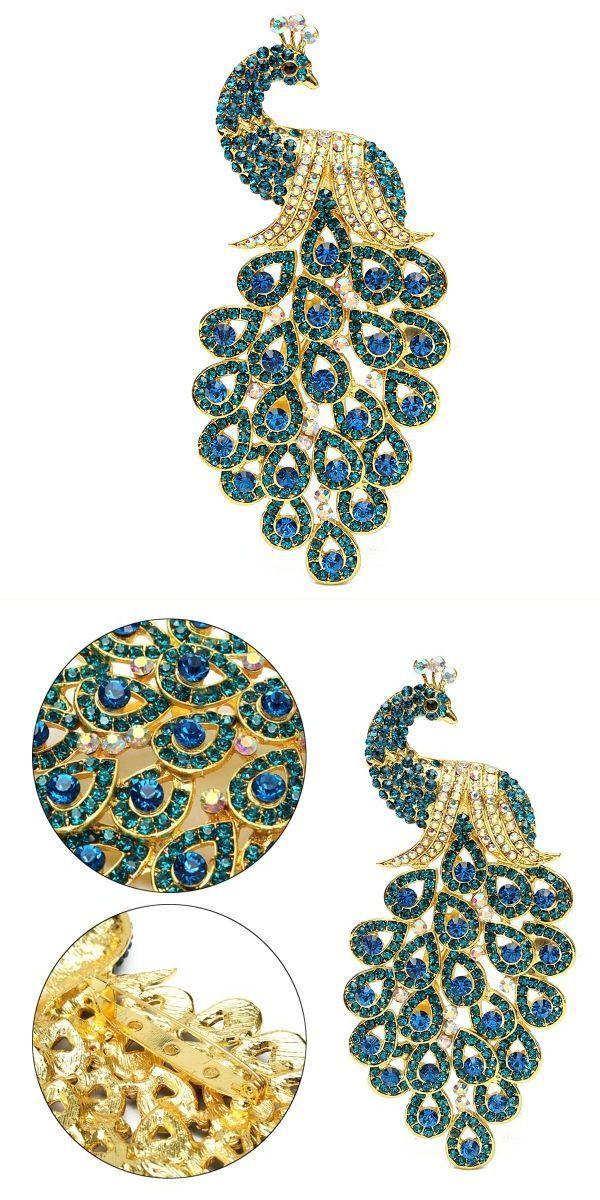 Vintage gold-plated peacock bird blue crystal bird brooches pin headwear synonym #don #c #headwear #headwear #jakarta #headwear #osrs #schoolboy #q #headwear