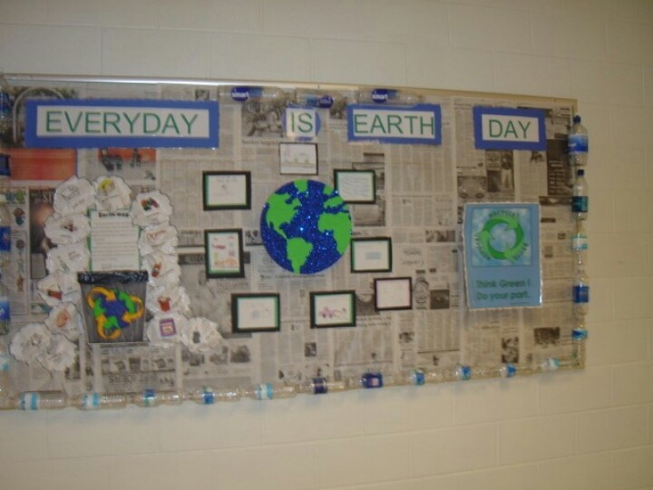 Earth day bulletin board. The border is recycled water bottles collected from teachers