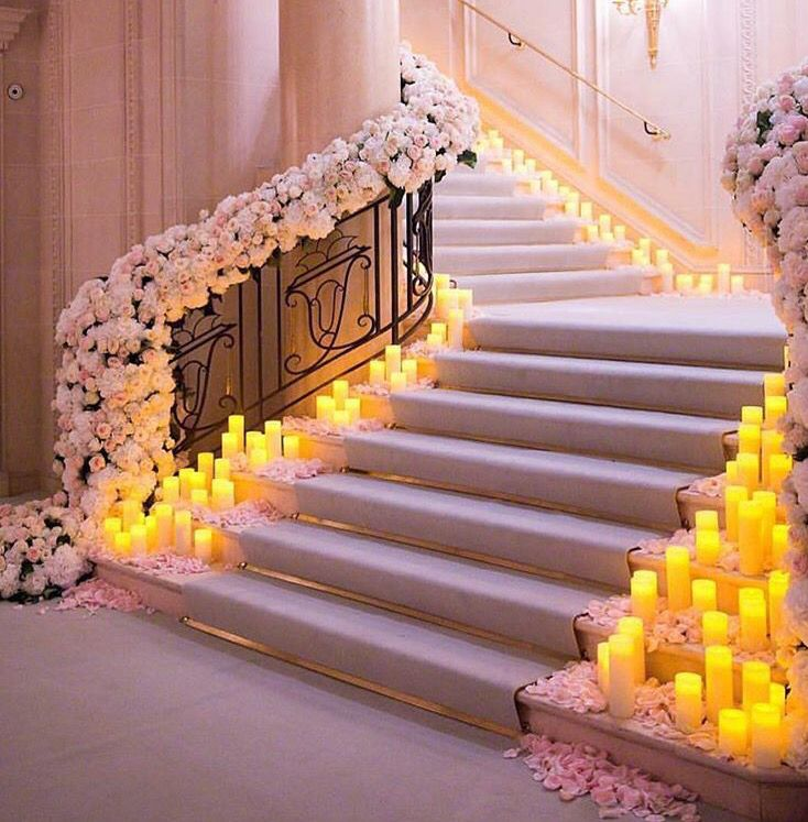Fairytale. #love #heavently #candle #romantic #romance #peaceful #peace #flowers #white #roses #stairs #path