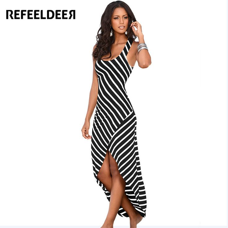 Refeeldeer Summer Beach Dress Women 2017 Plus Size Long Black Striped Tunic Bodycon Sexy Party Maxi Dresses Sundress Robe Femme