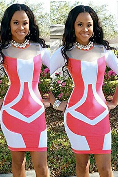 White Rosy Bandage Style Patchwork Bodycon Dress