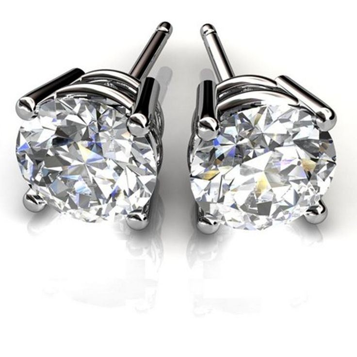 1.00ct Solitaire Round Cut Diamond Earrings Stud 14Kt White Gold 1068 | eBay