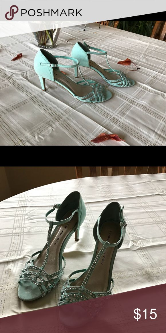 Chinese laundry mint green heels Mint green heels with some bling in good condition. Chinese Laundry Shoes Heels