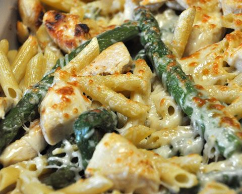 Chicken and Asparagus Penne- Delicious and feeds 6. Can easily be doubled. Quick and easy.