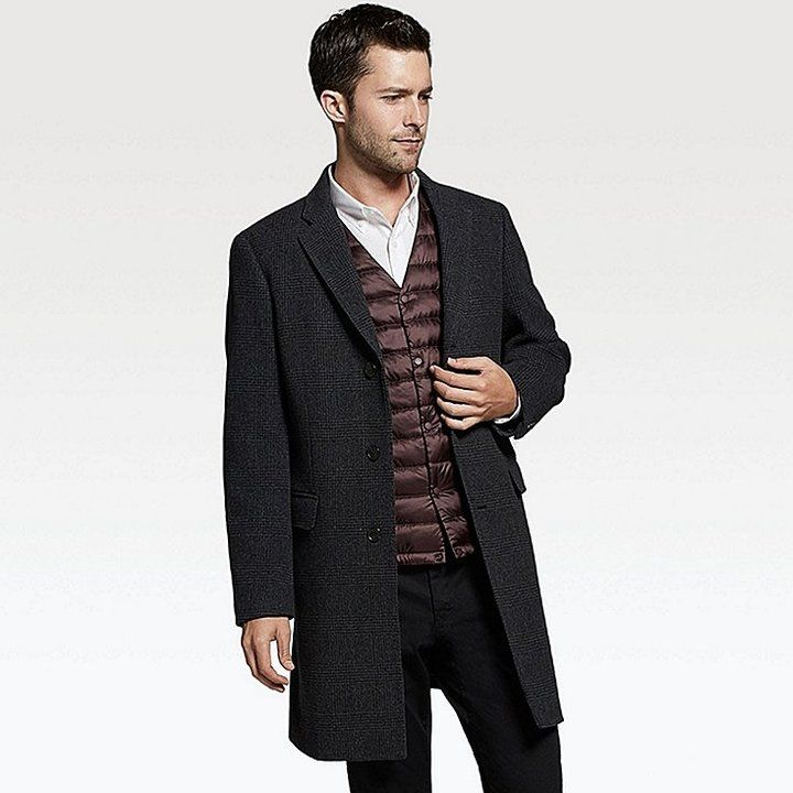 Uniqlo Men's Wool Cashmere Chesterfield Coat