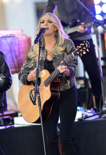 "Carrie Underwood performs on NBC's ""Today"" at the Rockefeller Plaza on October 23, 2015 in New York, New York."