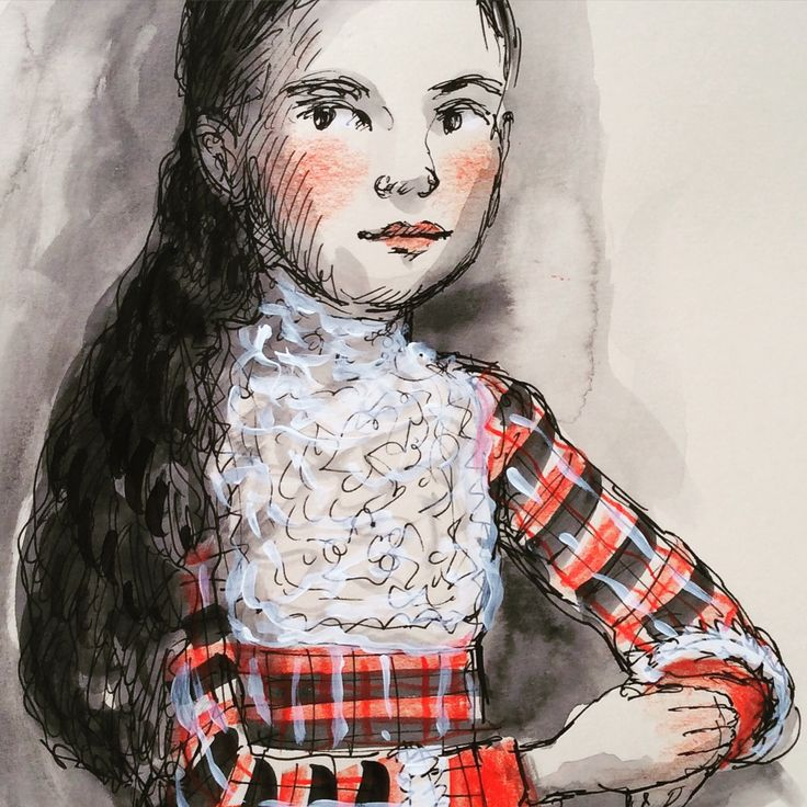 Another little cabinet card lass re-drawn in ink, watercolour, pencil and gouache at Federation Square Book a Market #cabinetcard #illustration #portrait #child #vintage #costume