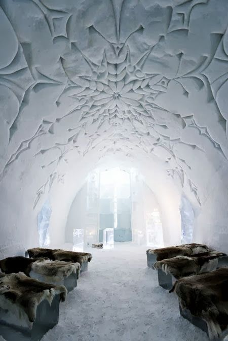 This is a picture of what I think is the WOLRDS GREATEST AND COOLEST Ice Hotel in Sweden. This is a one point perspective because the heaven door looking thing is the main focal point.