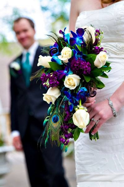 We loved this peacock-inspired bridal bouquet at Tapestry House!  Florals by Best Day Floral Design. Photo by Tom K. Photography
