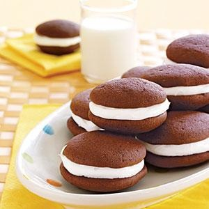 Whoopie Pies - Satisfy the biggest sweet tooth with these delightful little snacks..  Print this recipe at AmericanFamily.com.Delicious Desserts, Cookies, Homemade Oreo, Chocolates, Pies Recipe, Sweets Treats, Food, Cake Desserts, Whoopie Pies