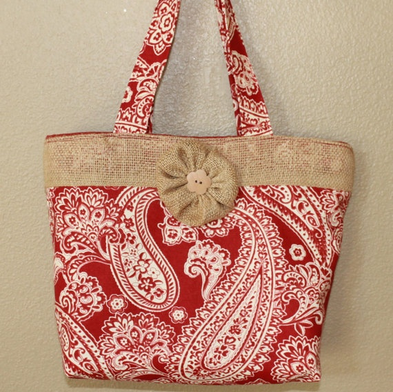 Burgundy and tan paisley print burlap tote by AnLieDesigns on Etsy, $25.00