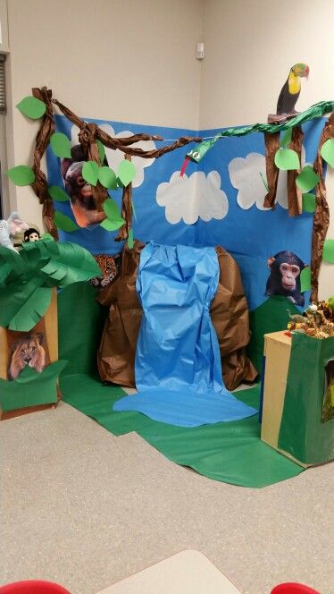 Forest Themed Classroom Decorations ~ Rain forest wild animals pretend play dramatic