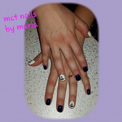Blue gel polish naivy style!!
