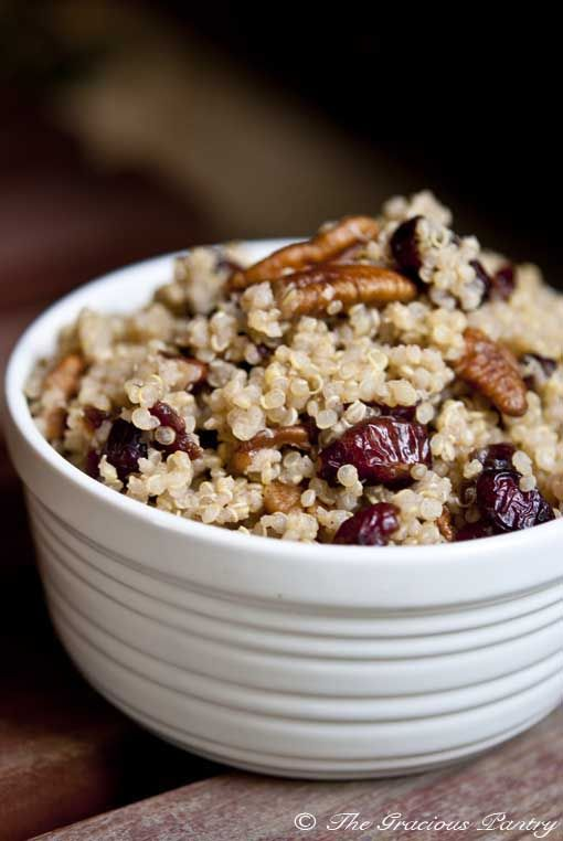 Cranberry Pecan Quinoa - According to another pinner: unexpectedly awesome! Very fall. Added 1/4 tsp more cinnamon and of course fresh lemon juice makes a difference. Chopped the nuts up small so you get them in every bite. Added about 1/2 cup more liquid - turned out more like mashed quinoa. Maybe just 1/4 extra water next time? Almond milk really is great with it.
