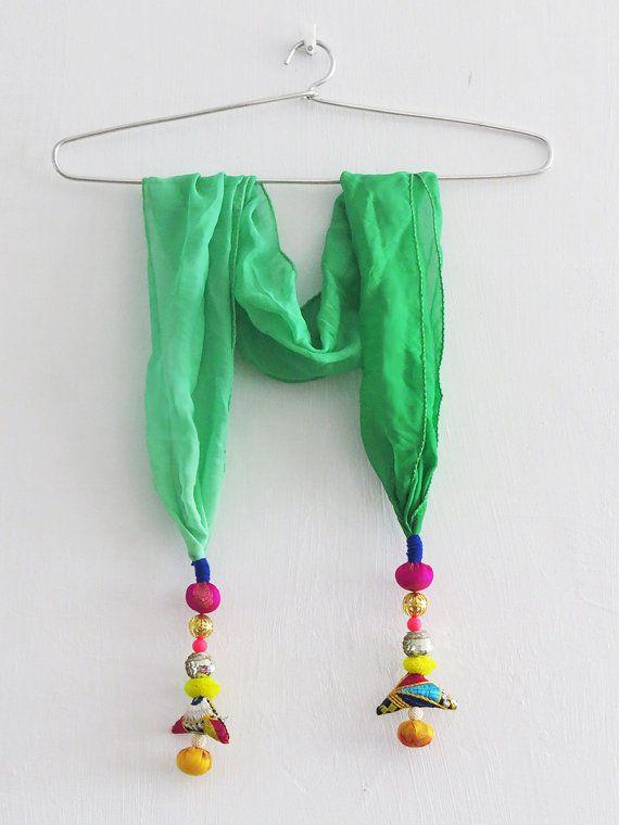 #Handmade #embroidered #unique #Tassel AQUA GREEN by iThinkFashion, $26.00