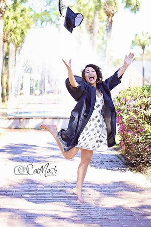 """A college student's graduation photo shoot went horribly awry after she broke her foot while attempting to re-create a fun """"jumping for joy"""" pose. 