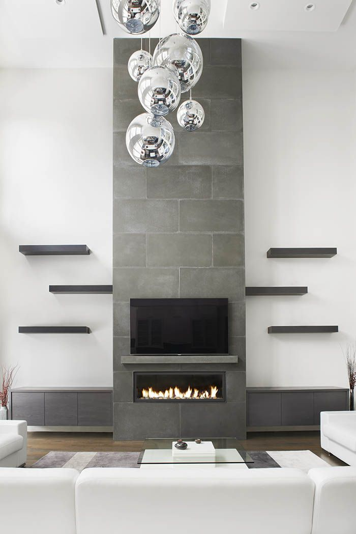 Tall Concrete Fireplace Surround Toronto Contemporary