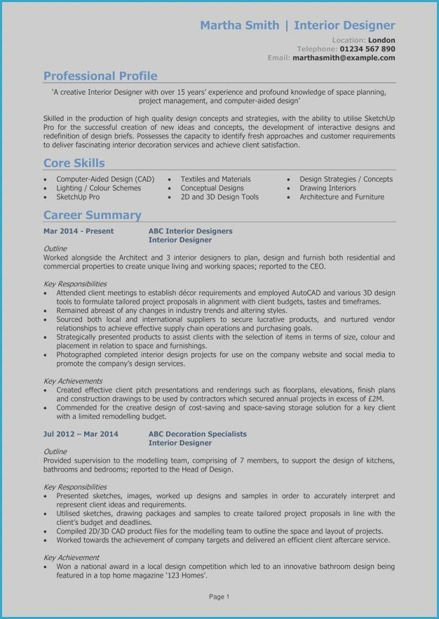 Professional Resume Example Instant Download 1 Page Resume Example For Ms Word Diy Resume Example In 2020 Resume Examples Cv Examples Interior Design Resume