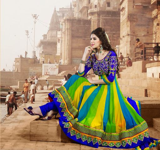 Exquisite Lime Green, Royal Blue & Yellow Salwar Kameez   StylishKart.com