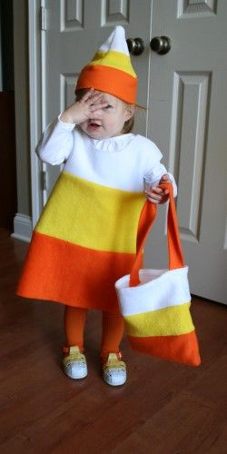 Candy Corn Costume made out of three colors of felt material.