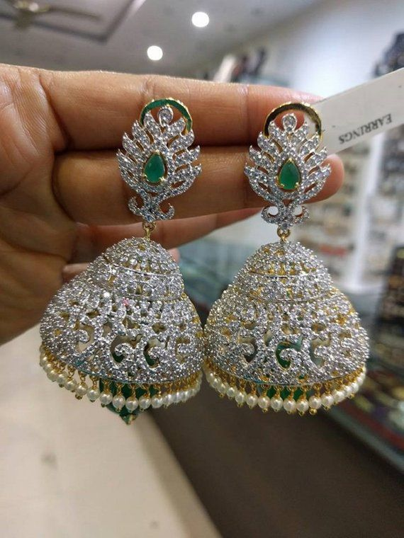 b4db5ff9a Most Beautiful Jhumkas/Earrings with White/Emerald/Ruby American Diamonds  Stones & Pearls(1gm Gold)